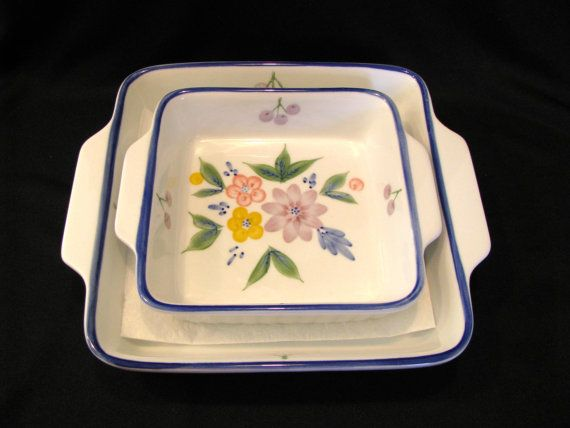 Lillian Vernon Casserole Dishes Set of 2 Floral by JuleesTreasures