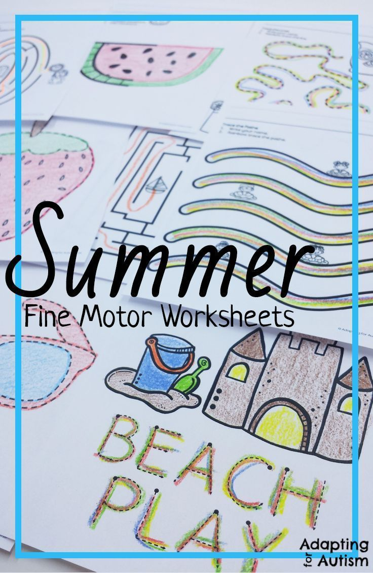 Summer Fine Motor Worksheets for Special Education and Autism ...