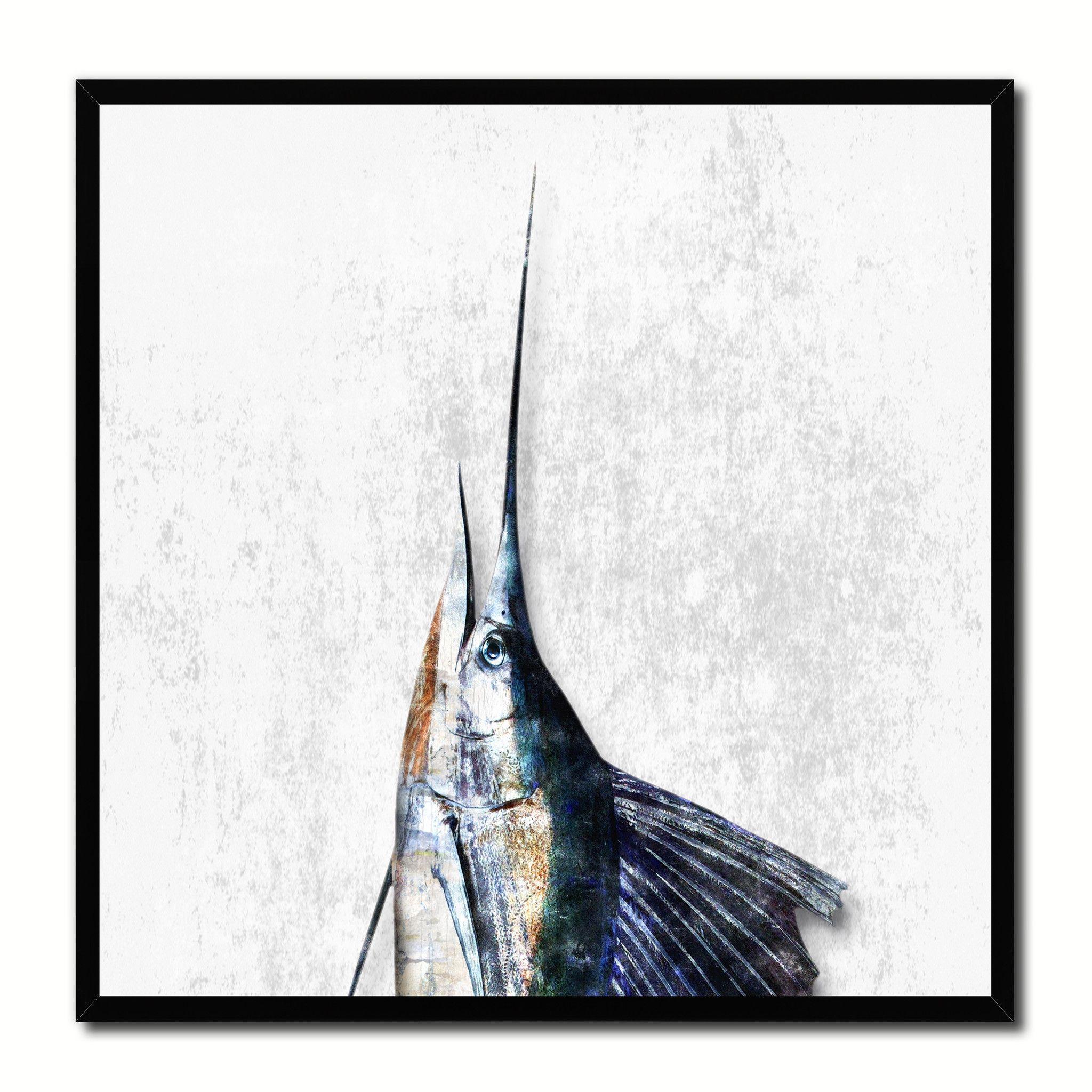 Sailfish Fish Head Art White Canvas Print Picture Frame Wall Home ...