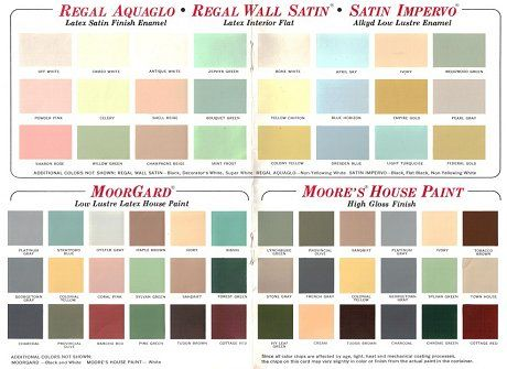 1950s and 60s paint colors from sears classic harmony on benjamin moore interior paint chart id=62849