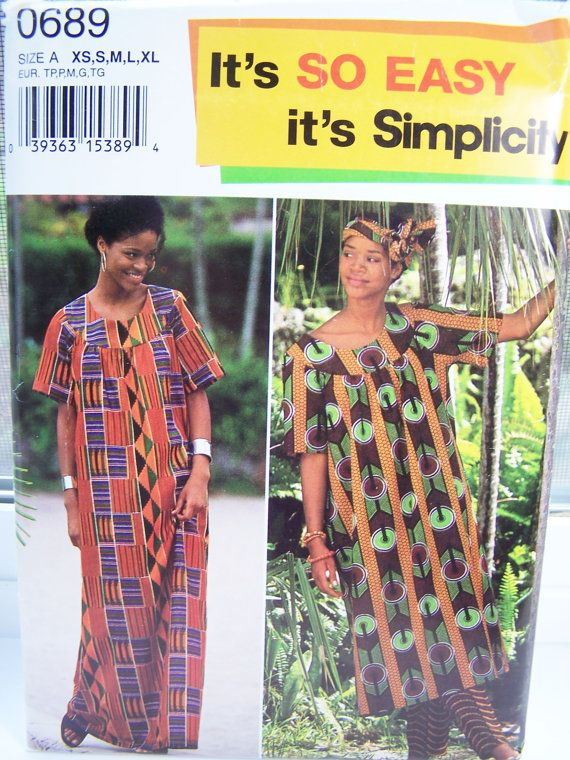 Simplicity 0689 Women\'s Sewing Pattern African Inspired Long Loose ...