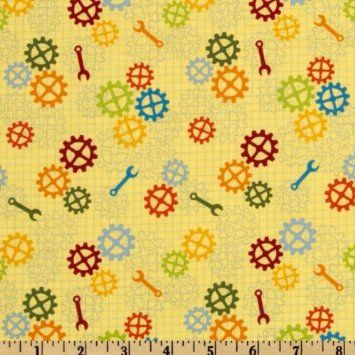 Amazon.com: 44'' Wide Robot Factory Organic Tools & Gears Yellow Fabric By The Yard: Arts, Crafts & Sewing