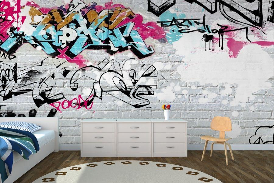 Wallpaper Wall Coverings | White Wall Graffiti Wallpaper Wall Mural | MuralsWallpaper.co.uk