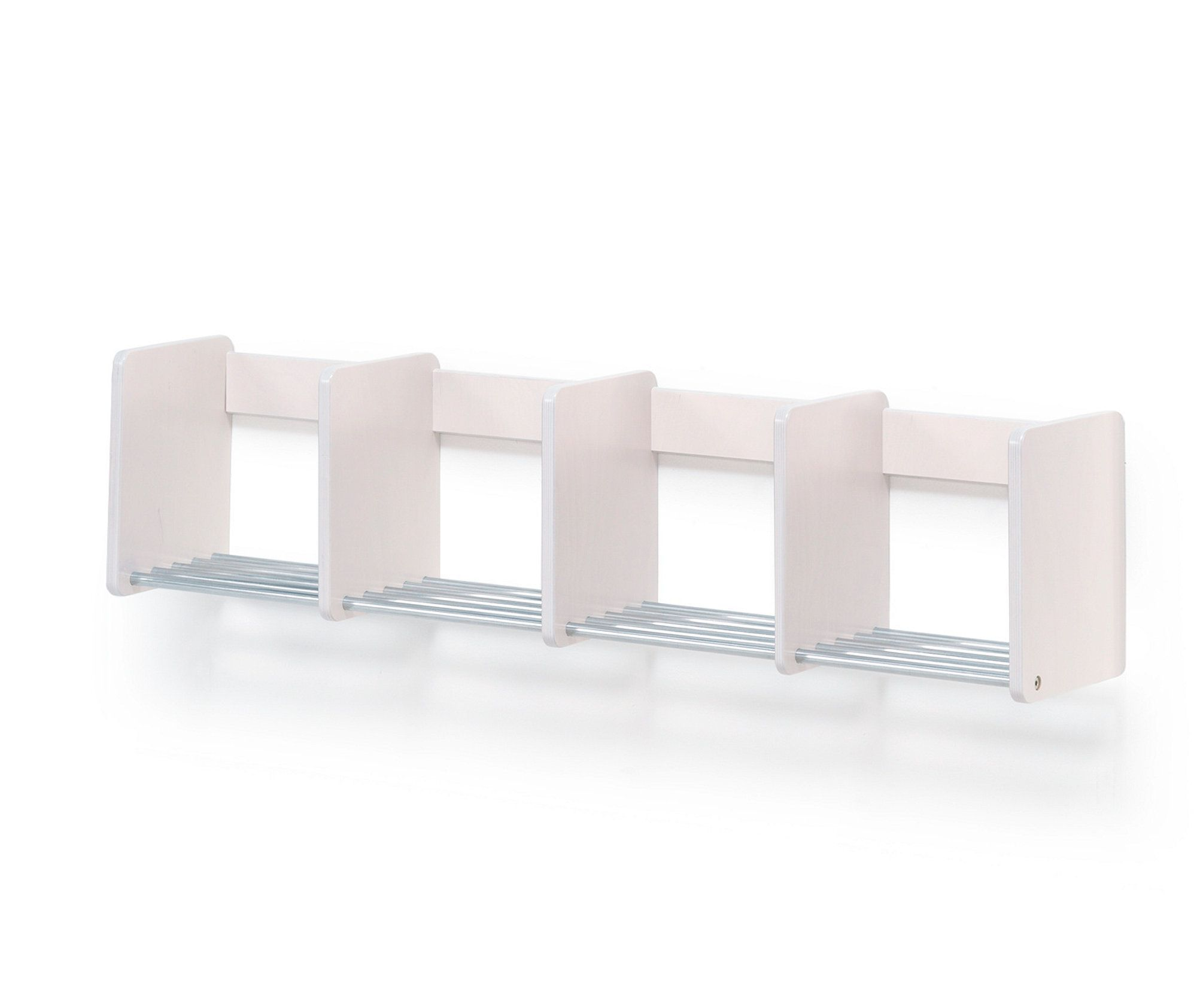 Wall Mounted Shoe Rack Tobbe 4 Sections White Aj Products Online Mounted Online Products Ra In 2020 Wall Mounted Shoe Rack Wall Mounted Shelves Pot Rack Hanging