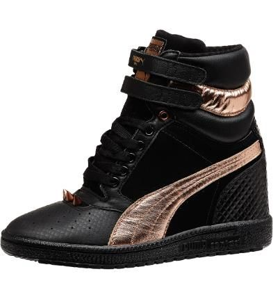 puma sky wedge rose gold sneakers