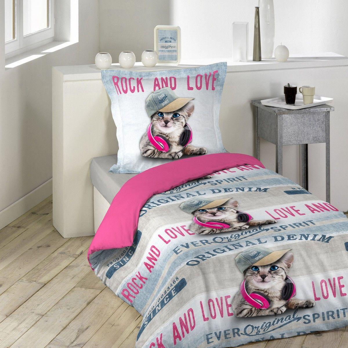 parure de lit enfant girly cat 140x200 douceur d 39 int rieur gris rose douceur d interieur la. Black Bedroom Furniture Sets. Home Design Ideas