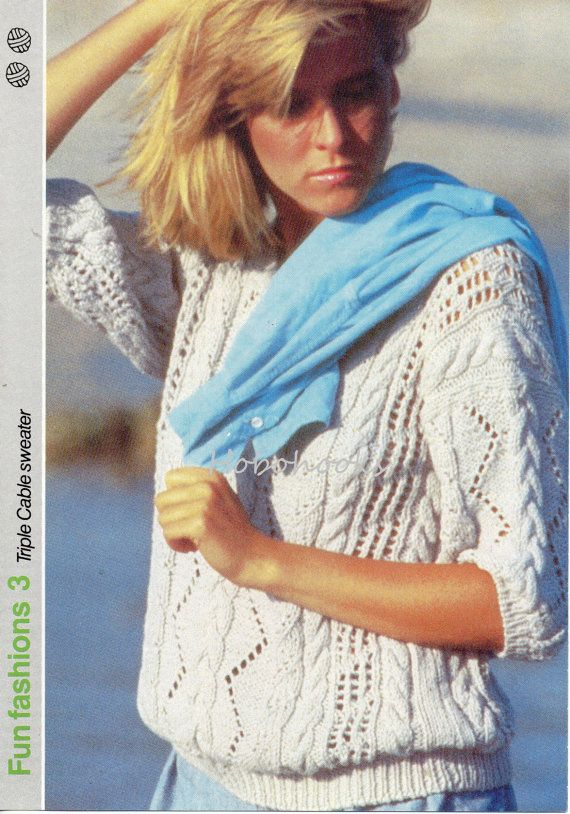 Womens Cotton Cable Sweater Knitting Pattern 87 92 Cm Dk Cotton Yarn