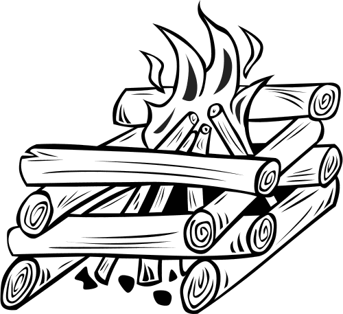 Log Cabin Fire Bw Campfire Drawing Coloring Pages Campfire