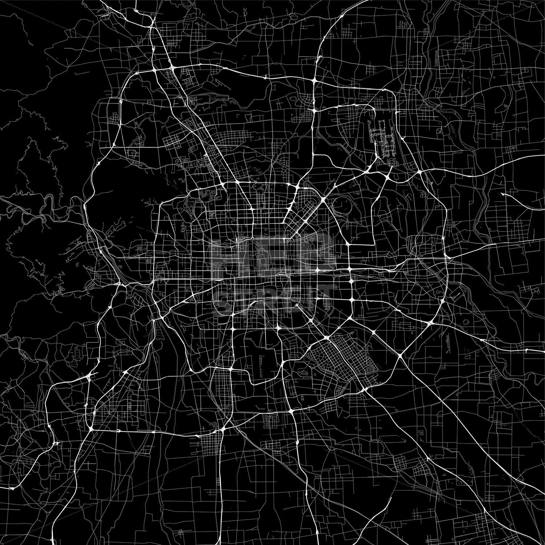 Dark Area Map Of Beijing China Streit