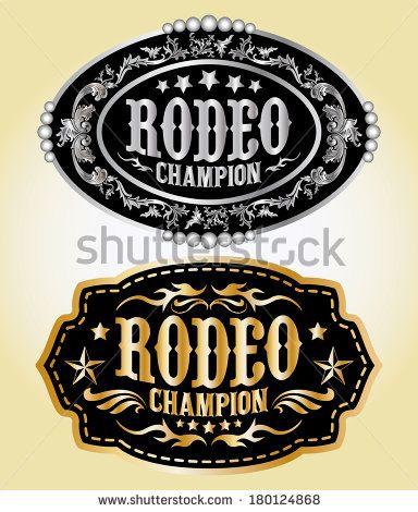 Rodeo Champion Cowboy Belt Buckle Vector Design Campeao Logotipo Vetores