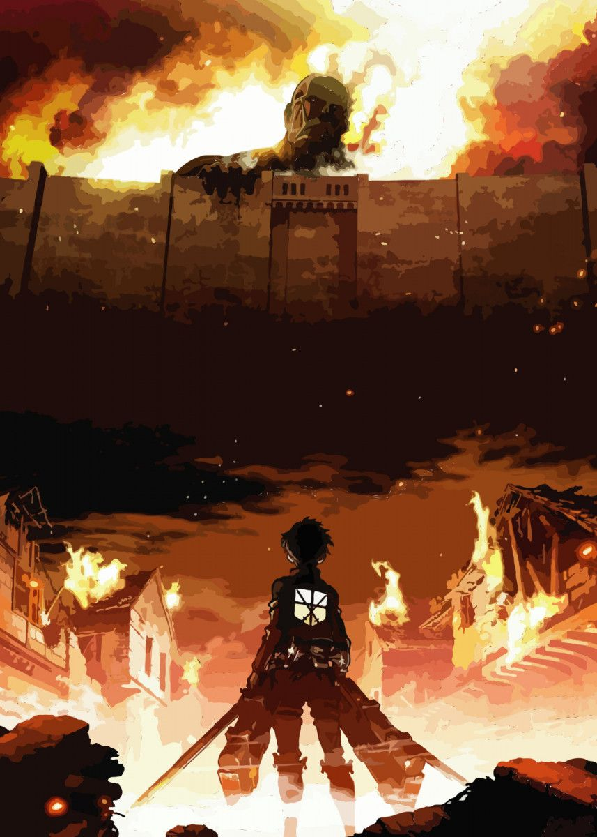 Attack On Titan Poster Print By Wallart Displate In 2021 Attack On Titan Season Attack On Titan Aesthetic Attack On Titan Art