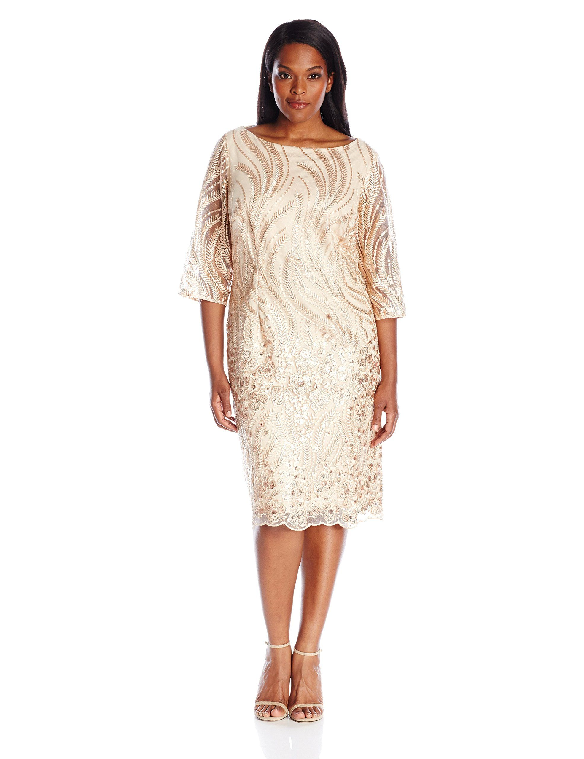 Brianna Womens Plus Size Border Pattern Sequin Embroidered Shift