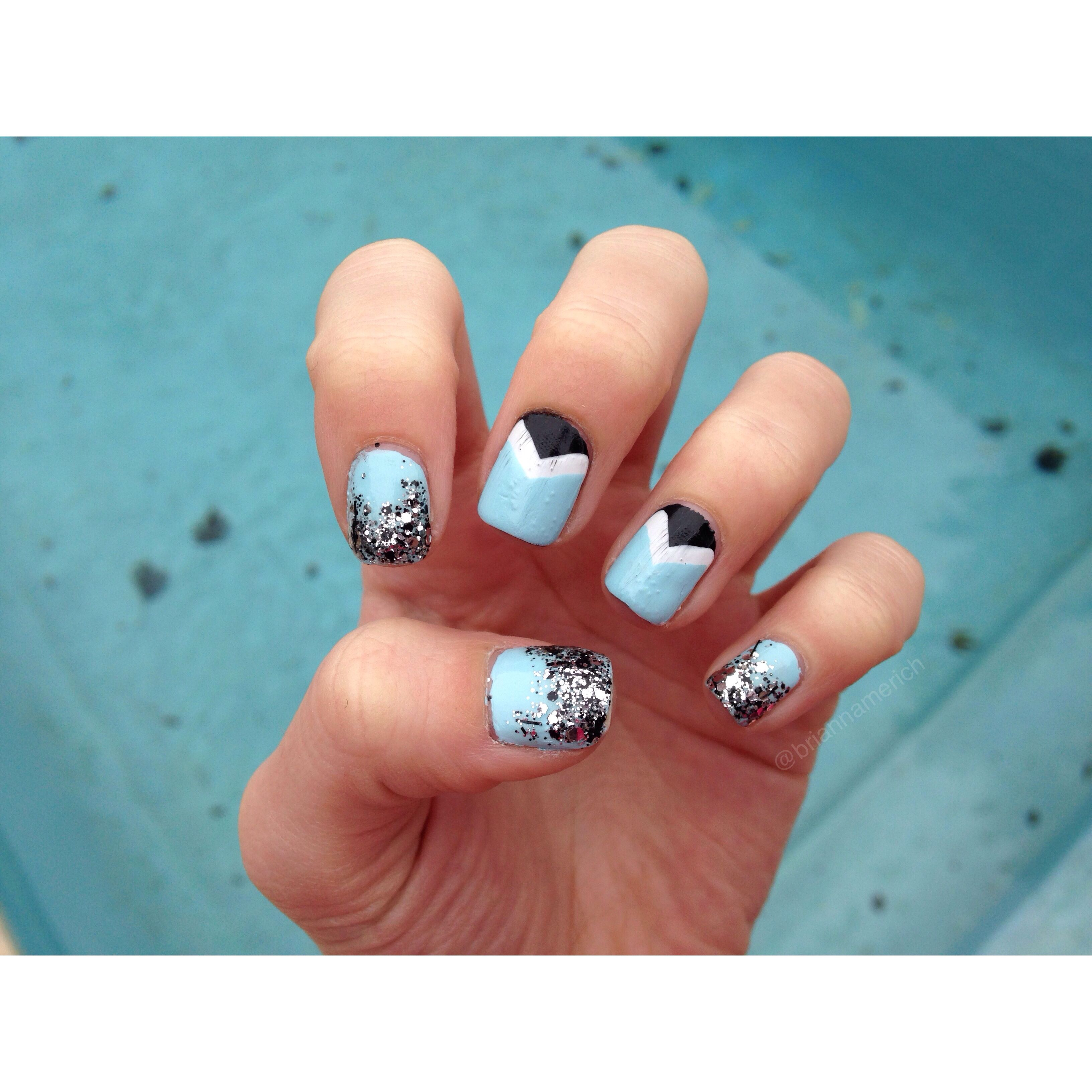 mint candy apple essie polish triangle ombré glitter nails(: | Nail ...