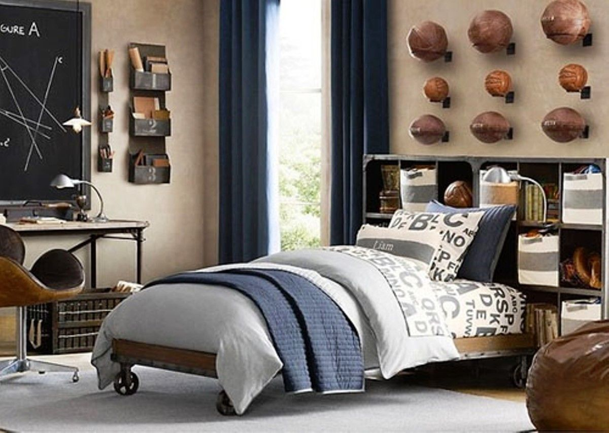 Bedroom design for teenagers boys - Accesories Decors Boys Sports Room Decor For Boys Teenage Bedroom Ideas With Wheel Base Bed Frame Also Classic Wooden Study Desk Also Balls Collections