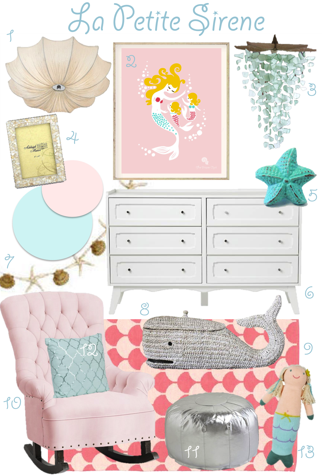 La Petite Sirene Nursery Inspiration Board Pink And Aqua