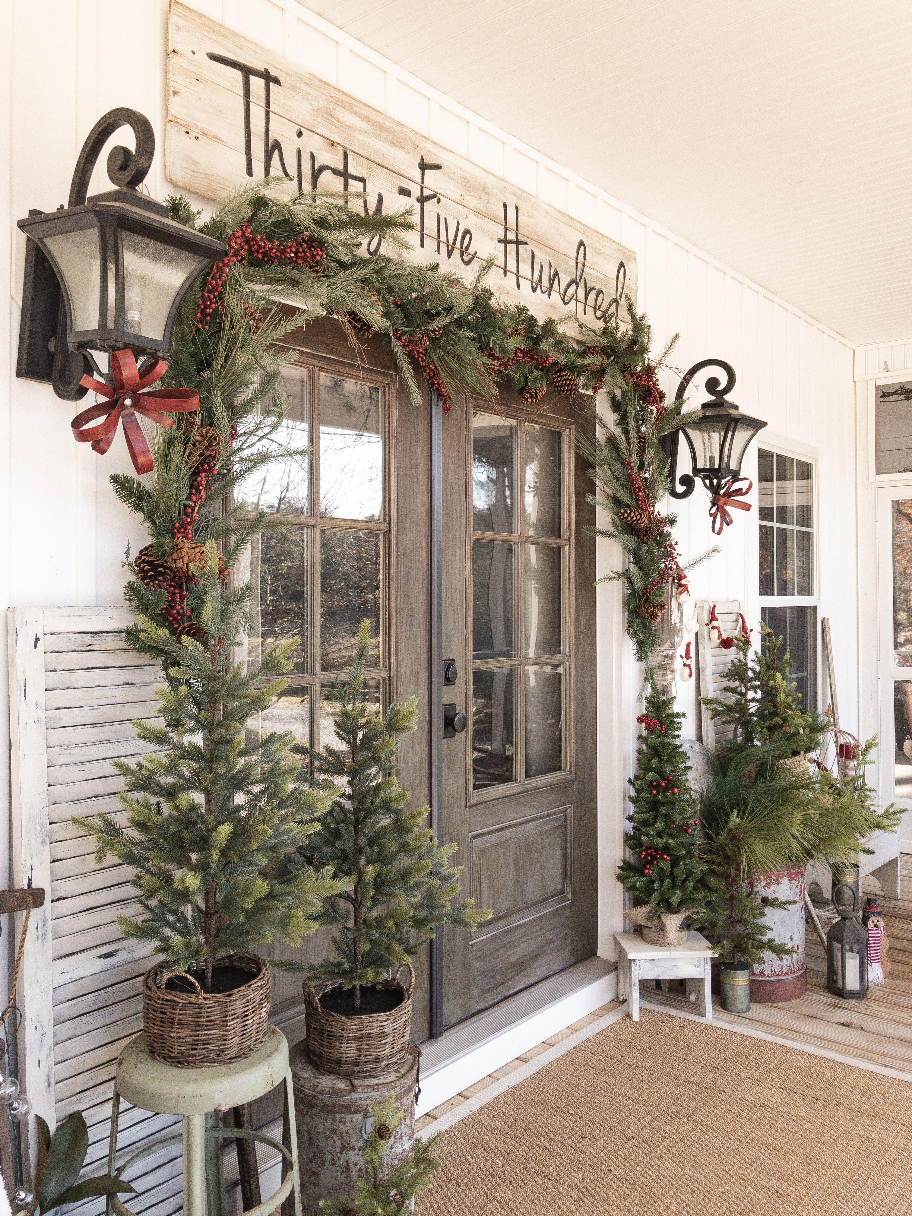 Christmas farmhouse porch christmas porch decor front