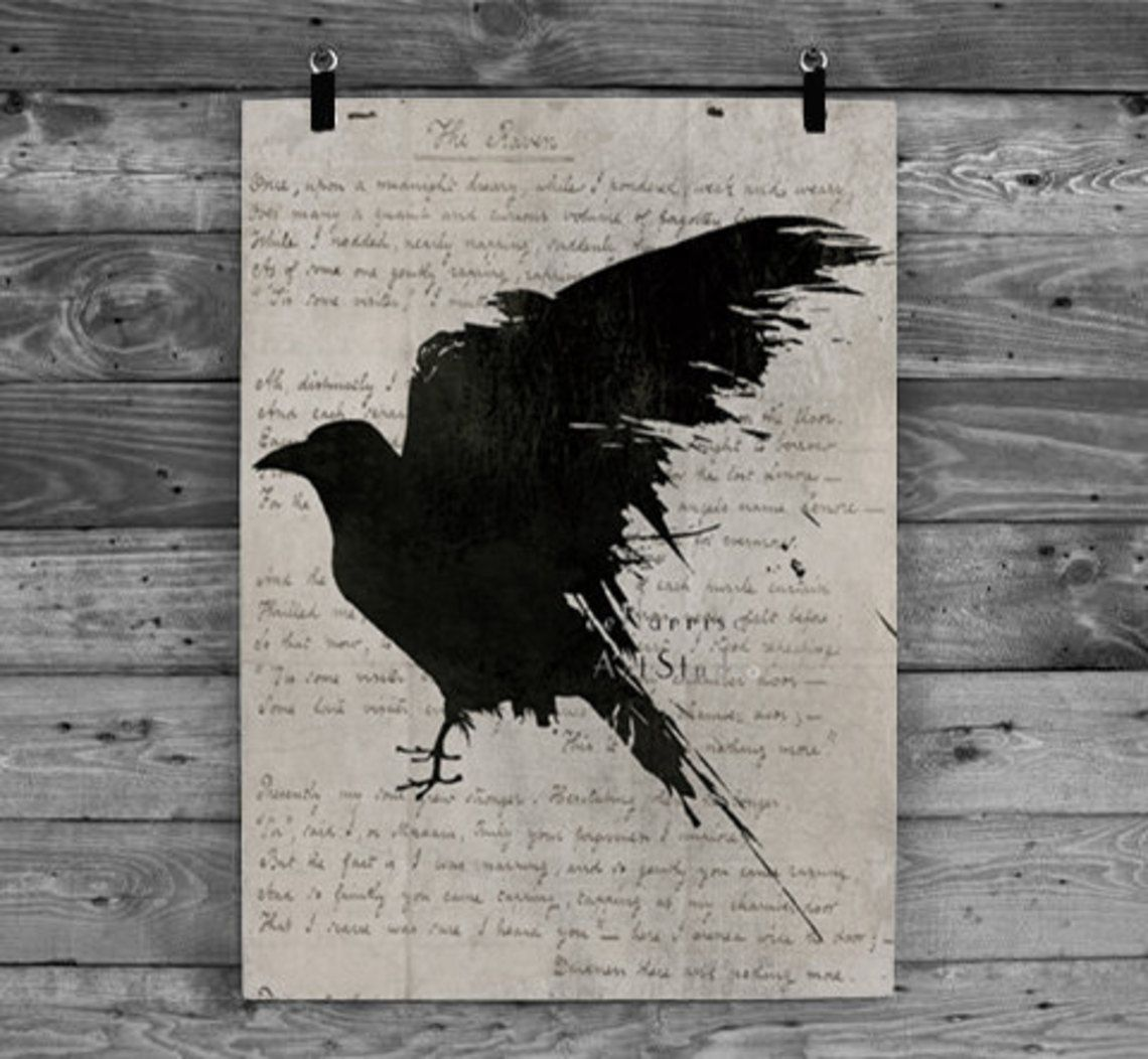 The Raven Poem Nevermore Poster Gothic Art Print Edgar