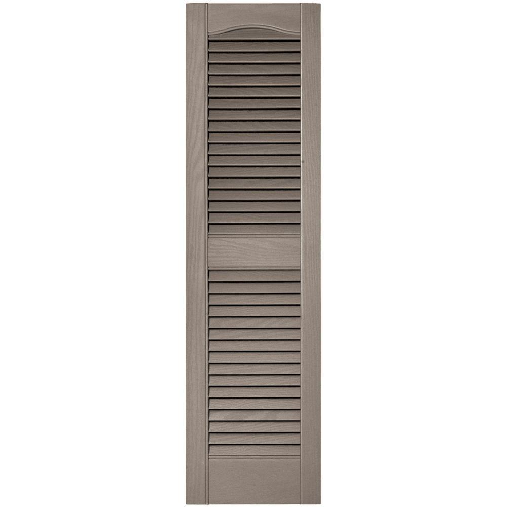 Builders Edge 12 In X 43 In Louvered Vinyl Exterior Shutters Pair In 008 Clay 008 Clay Shutters Exterior Exterior Shutters Diy Vinyl Exterior
