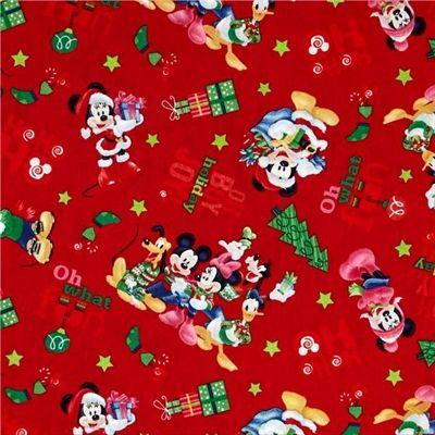 disney mickey mouse ho ho joy christmas holiday cotton fabric - Disney Christmas Fabric