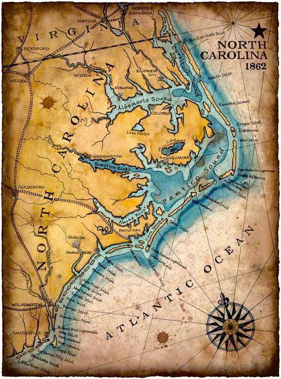 North Carolina Coast Map Art C 1862 11 X 15 Hand Drawn Carolina