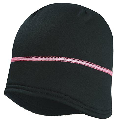 TrailHeads Women s Power Ponytail Hat - Reflective Winter Running Beanie -  black silver neon pink   Click image for more details. 2c47f848696