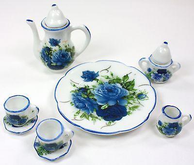 TINY TEA SET BLUE ROSES TEAPOT SUGAR BOWL CREAMER 2 TEACUPS PLATTER PORCELAIN