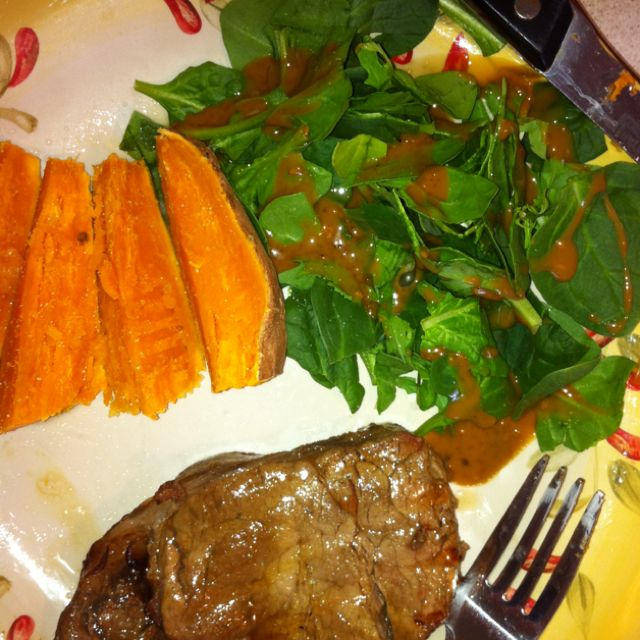 grilled tbone with baked sweet potato and spinach salad