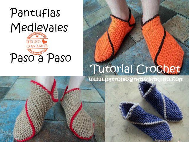 Clase gratis de tejido crochet online: pantuflas medievales ...