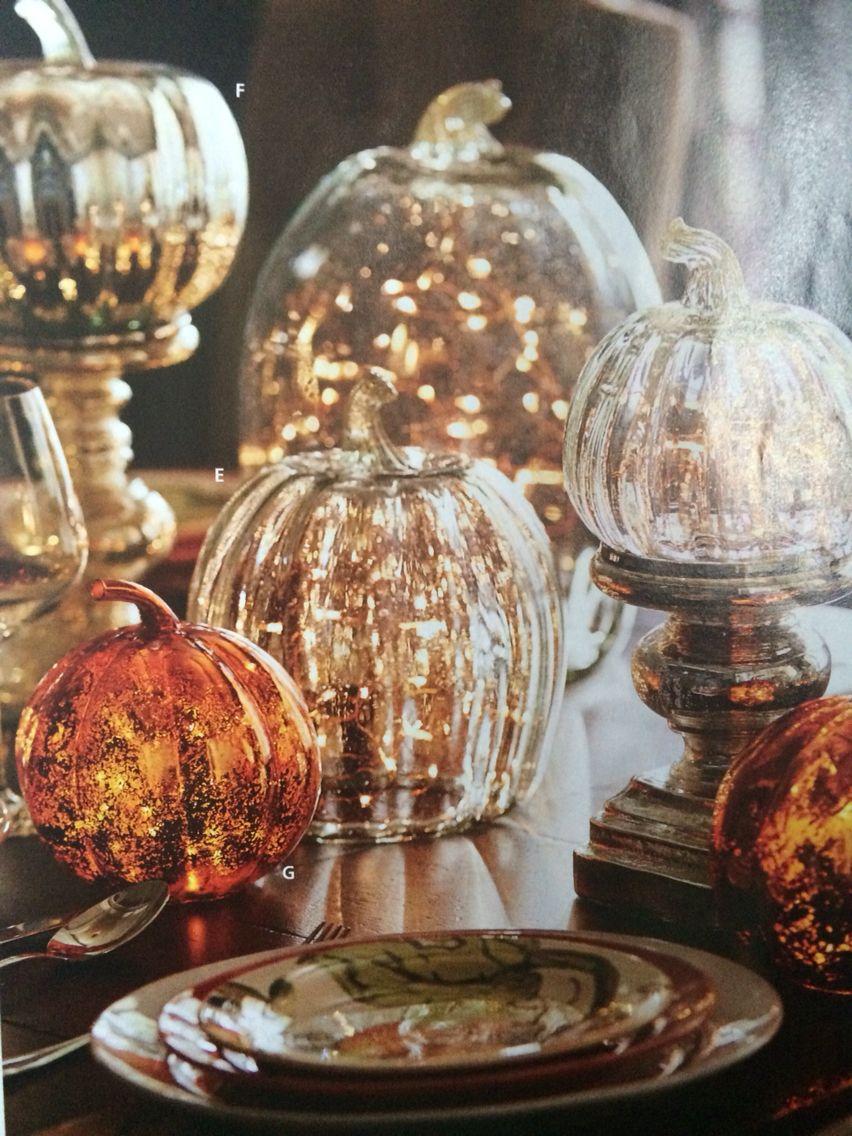 Pottery Barn Halloween Lighted Glass Pumpkins Catalog September