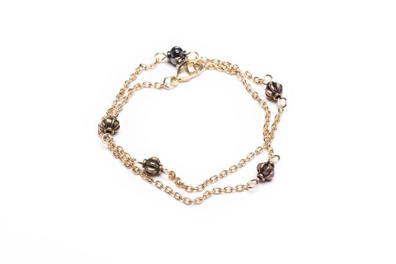 Double Gold Chain Wire Wrap Bracelets Handmade Jewelry Delicate