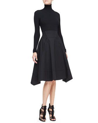 Long-Sleeve Turtleneck Top & Full-Skirt with Nylon Hem by Donna Karan at Bergdorf Goodman.