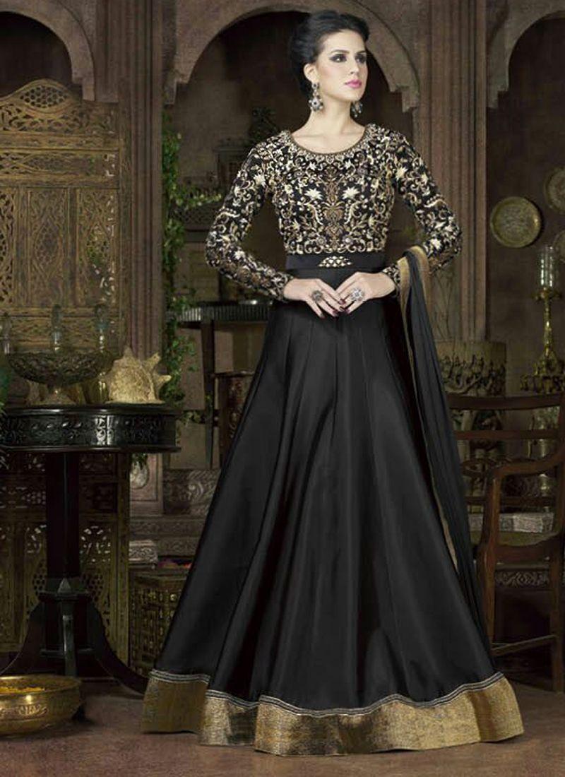 46a400c5e38 Black Colored Modish Taffeta Silk Designer Heavy Embroidered Anarkali Suit