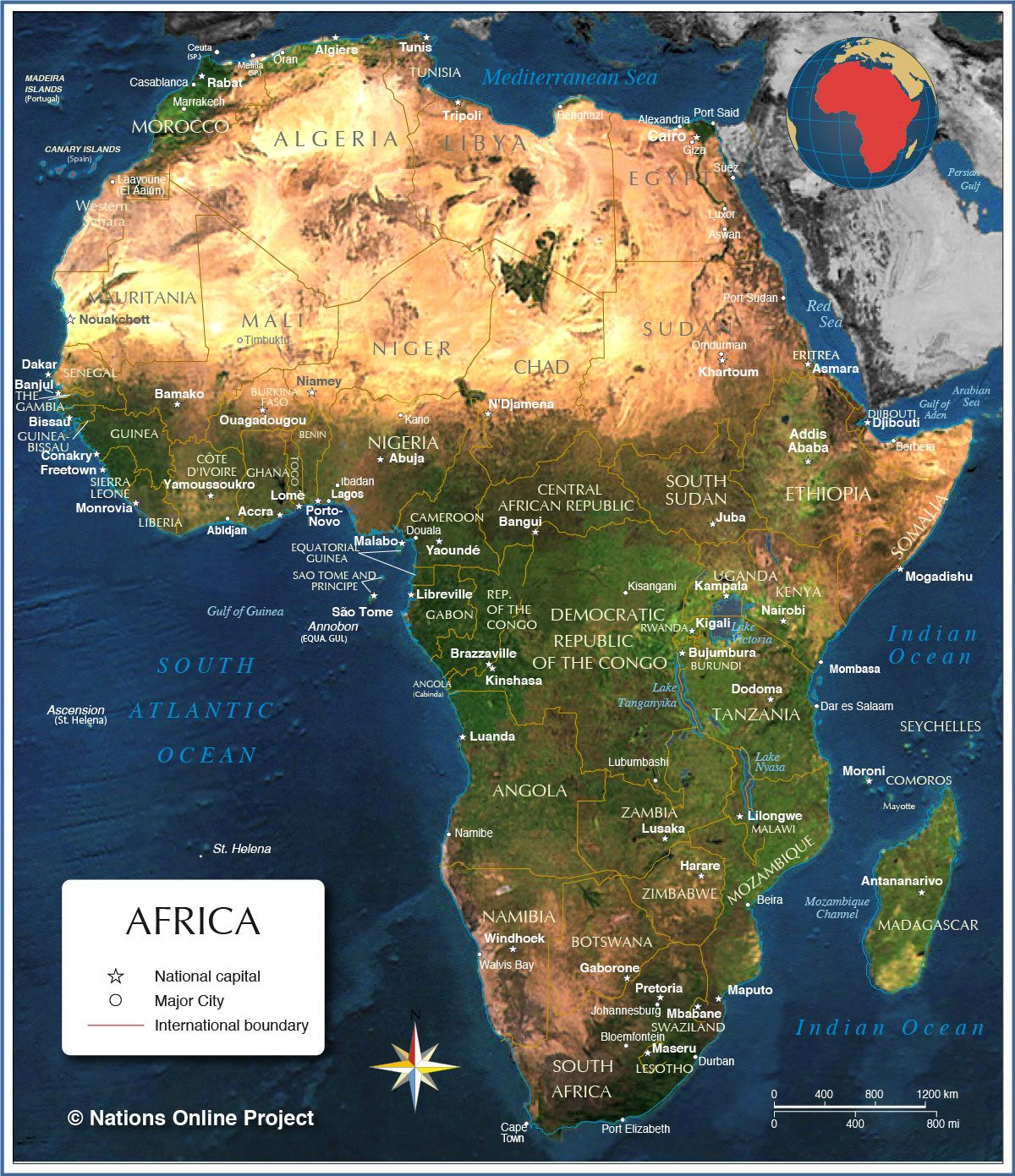 Africa Nations Map.Map Of Africa Countries Of Africa Nations Online Project