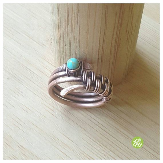 Band ring turquoise, wire wrapped ring, turquoise ring, copper ring ...