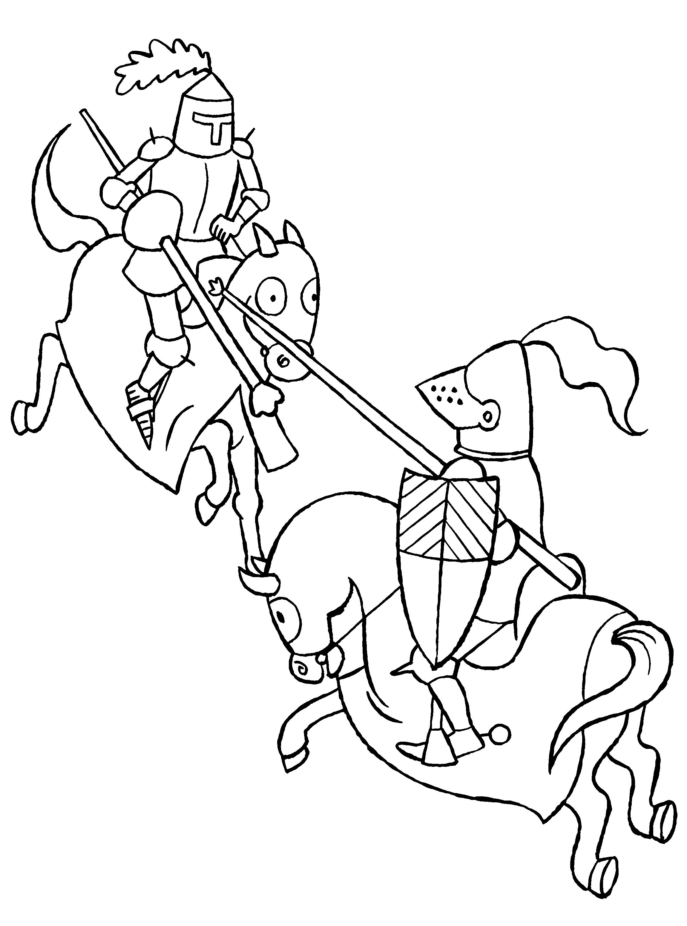 Kleurplaten Ridder Op Paard.Twee Vechtende Ridders Te Paard Ridders Kleurplaten En