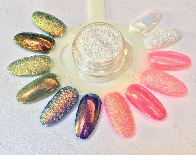 EFECTO del píxel brillo sirena tendencia uñas arte Glitter ...