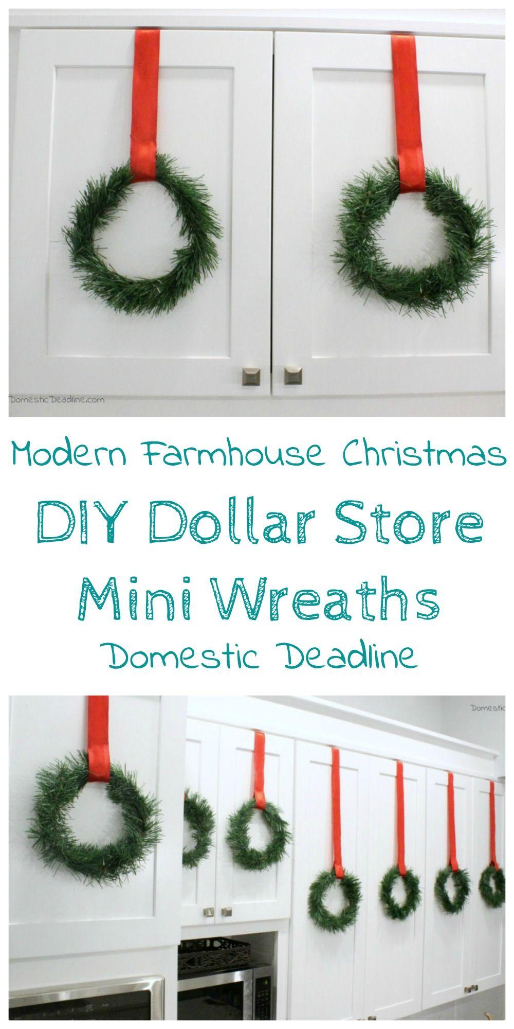 Diy Dollar Store Mini Wreaths Modern Farmhouse Christmas Domestic Deadline Cheap Christmas Diy Dollar Store Diy Diy Holiday Decor