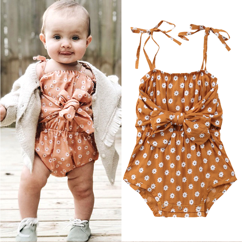 f64d94448342e Baby Girl Strap Bowknot Floral Romper | Ideas for the house | Baby ...