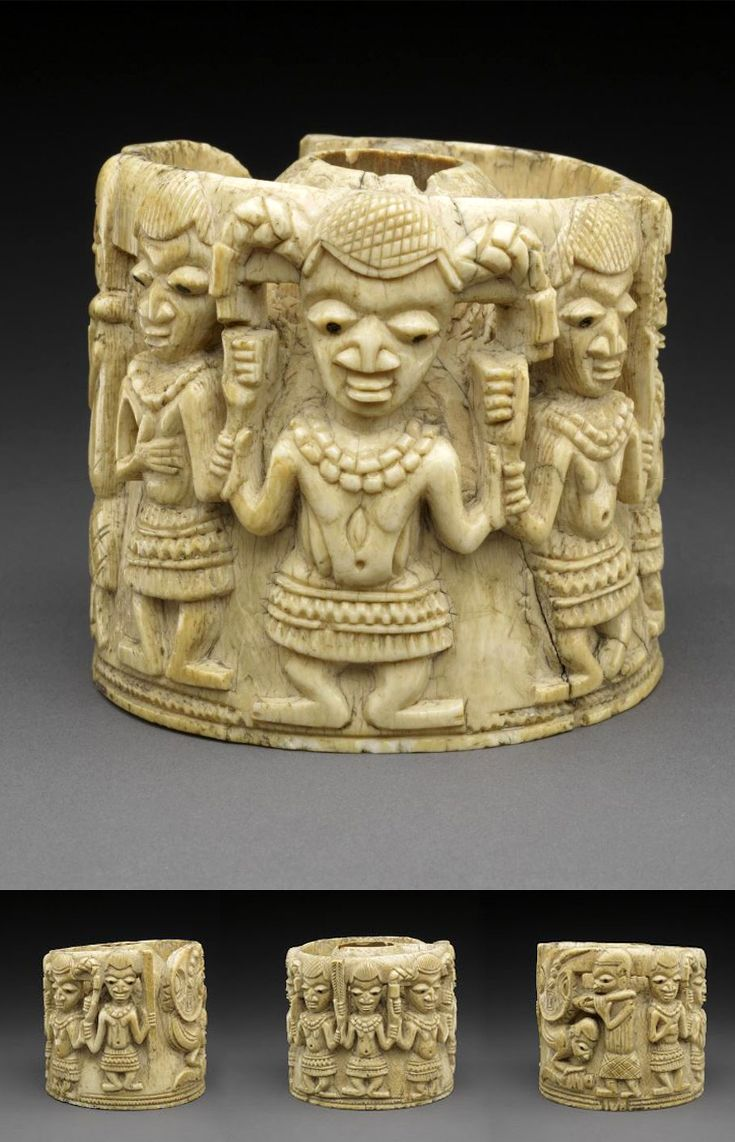 Africa Cup lid from the Yoruba Owo subgroup people Ivory with