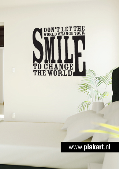 Ontwerp muursticker | muurtekst Smile... slaapkamer | Leuke muur ...