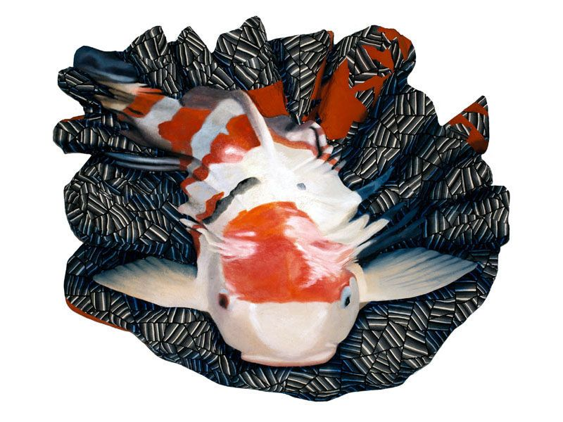 Nami, 2011. Acrylic on Nepalese paper and kimono fabric on