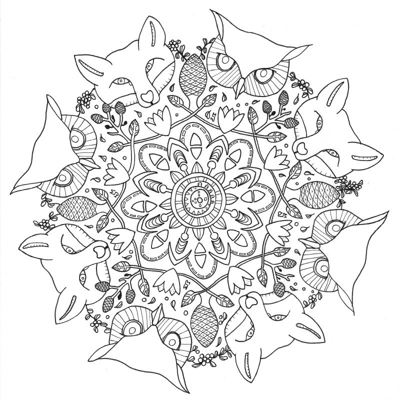 20150224 Colouring Book For Grown Ups Coloring Black White Mustard Ljungeld Maria Secret Forest Square
