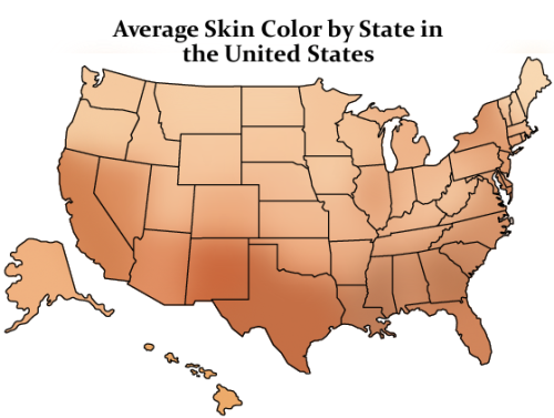 Average Skin Color by State in the United States  2012