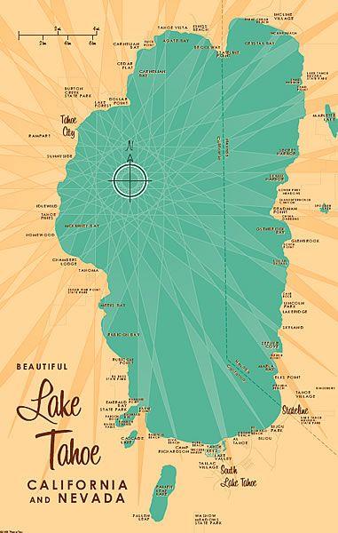 Lake Tahoe California Map Lake Tahoe Map | Lake tahoe map, Lake tahoe ca, Lake tahoe