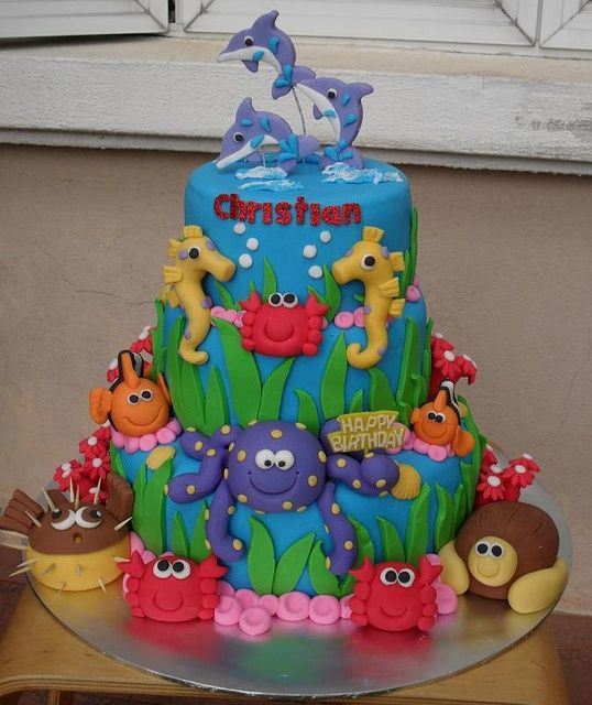 Outstanding Under The Sea Birthday Cake I Want Someone To Make This For My Funny Birthday Cards Online Overcheapnameinfo