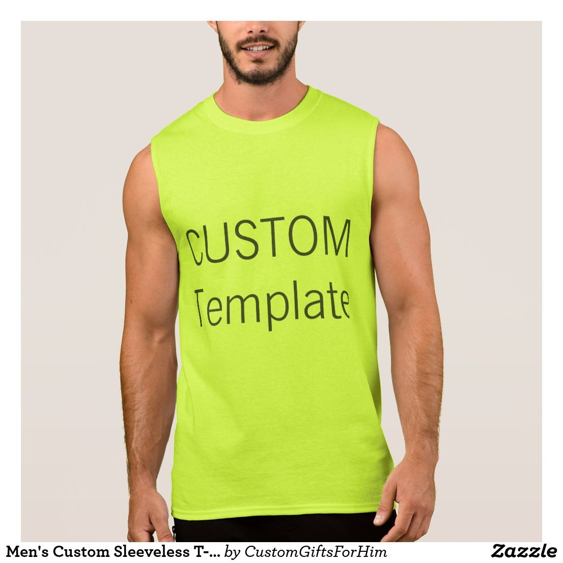 Mens Custom Sleeveless T Shirt Tank Top Yellow Custom
