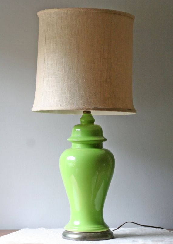 Lime Green Table Lamp Ceramic Ginger Jar Hollywood Regency