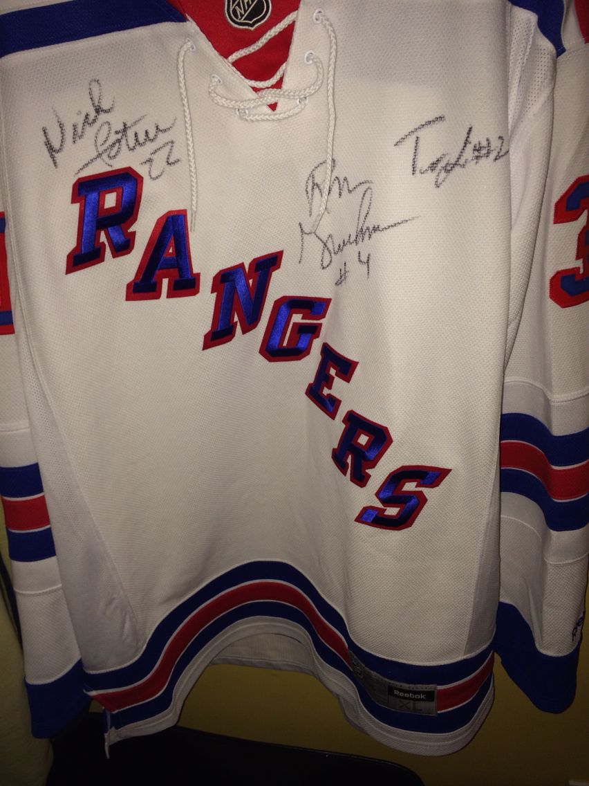 sports shoes 775d1 92dfc NY RANGERS JERSEY. Signed Nick Fotiu, Tommy Laidlaw and Ron ...