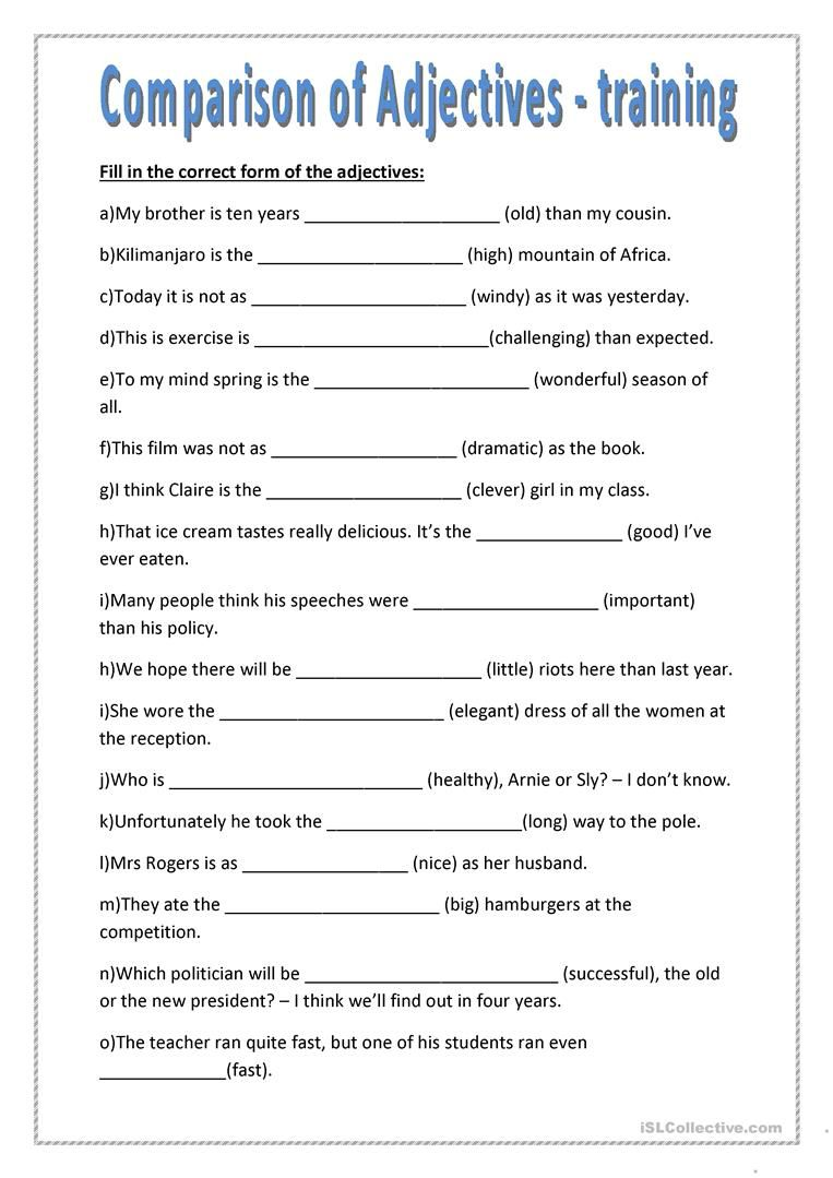 Comparison Of Adjectives Training Worksheet Free Esl Printable Worksheets Made By Teache Comparative Adjectives Comparative Adjectives Worksheet Adjectives