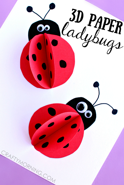 3D Paper Ladybug Craft for Kids - Cute art project for summer or homemade cards! | CraftyMorning.com